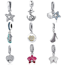 Authentic 925 Sterling Silver Bead DIY Charms Lucky Symbol Crystal Starfish Orchid Pendant Beads Fit Original Pandora Bracelets