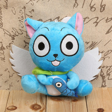 "Anime Fairy Tail Happy with Fish Plush Toys Soft Stuffed Dolls Kids Toys Gifts 7"" 18cm(China)"