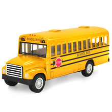 School bus students Shuttle Back to school bus Alloy Car Children toy car model Toys for boys(China)