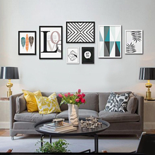 7pcs/set Nordic Black Geometry  Fresh Look Color Feather Modern Wall Painting  Decorative Art Picture Paint On Canvas Prints 119