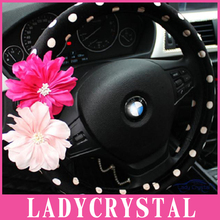 Ladycrystal Cartoon Series Cute Pink Flowers Velvet Black White Steering Wheel Cover For Girs Women Ladies Steering Wheel Covers