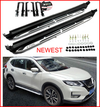 Newest running board side step nerf bar plate for Nissan X-trail 2017 2018, lengthen bracket, loading 300kg, can stand 4 persons(China)
