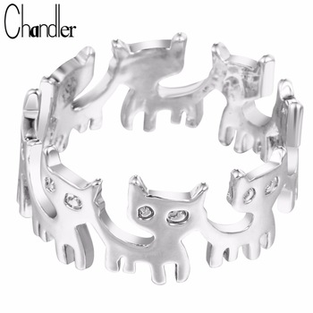 Chandler Brand 10pcs Silver Gold Plating Cute Cat Stack Ring Animal Adjustable Love Jewelry Casual Pinkie Bague For Women Gifts