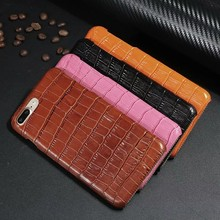 Crocodile Grain Genuine Leather phone case For iphone 7 7plus cell phone protector mobile back cover capa fundas black brown Red