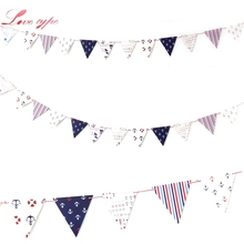 New 1Set Nautical Banner Anchor Steering Wheels Sailboat Baby Boy Nautical Decor Home Garden Birthday Party Baby Shower Supplies(China)
