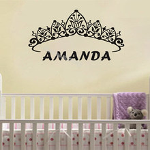 Pretty Princess Girl Crown Wall Sticker Personalized Custom Girls Name Vinyl Decal Nursery Child Baby Bedroom Wallpaper Fq510