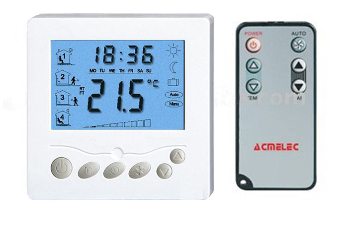 AC24V 20A wireless heating Thermostat with blue back light for electric floor heating system<br>