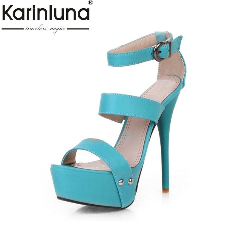 KARINLUNA 2017 Blue Yellow Big Size 34-43 Platform Women Sandals Sexy Super High Heels Lady Gladiator Party Wedding Shoes<br>