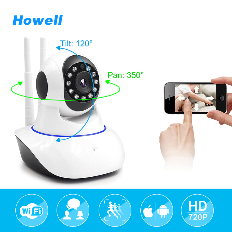 Howell Network Security Video Camera P2P Wifi IR-Cut IP Camera 2 Ways Audio Wireless CCTV Surveillance Camera 720P Baby Monitor<br>