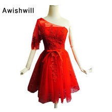 Cheap On Sale One Shoulder With Sleeves Lace Appliques Tulle Red Cocktail Dress Short Mini Robe De Cocktail