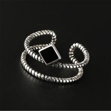 Anenjery Vintage Fashion 925 Sterling Silver Square Double Layer Rope Opening Ring For Women double S-R119(China)