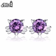 Effie Queen Luxury Austria Crystal Hello Kitty Stud Earring with Purple &White color for Women Fashion Earring Jewelry WE69(China)