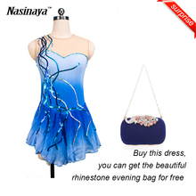 Customized Costume Ice Skating Figure Skating Dress Rhythmic Gymnastics Sequins Adult Girl Blue Skirt Competition Performance