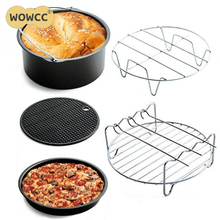 Home Air Fryer Accessories Air Frying Pan Five-Piece Fryer Baking Basket Pizza Plate Grill Pot Mat Stainless Steel Cookware Set(China)