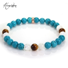 Thomas Colorful Material Mix Featuring 8mm Cyan Stone Tiger Eye  Bead Bracelet, Glam Jewelry Soul Gift for Women TS-197
