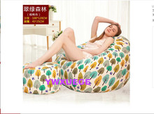 Living RoomThe Green Forest Lazy Beanbag Canvas Cloth Art Sofa Single Creative Gifts Dazzle Colour Geometry 100X120CM