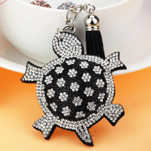 Novelty Rhinestone Tortoise Keychain Leather Keyring Fashion charms crystal Turtle Key Holder Jewelry bag Pendant gift(China)