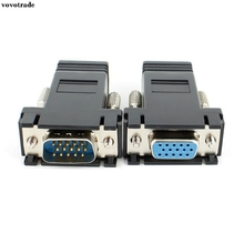 vovotrade 1 Pair VGA Extender Male Female to LAN RJ45 CAT5 CAT6 Network Cable Adapter for PC laptop DVR Media Center(China)