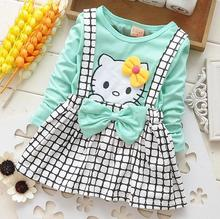 Baby Girls Cartoon Dress Hello Kitty Dresses Kids Princess Clothing Long Sleeve Robe Enfant Cloth Children Party Clothes(China)