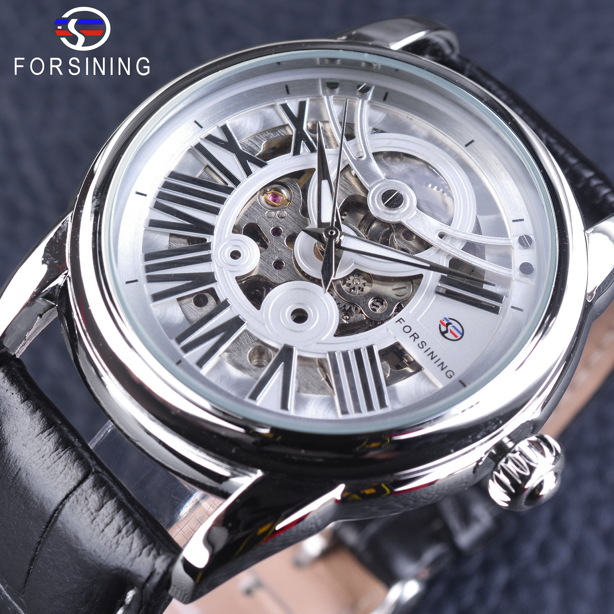 Forsining Official Exclusive Sale Roman Retro Genuine Leather Mens Automatic Mechanical Watch White Dial Silver Stainless Steel<br>