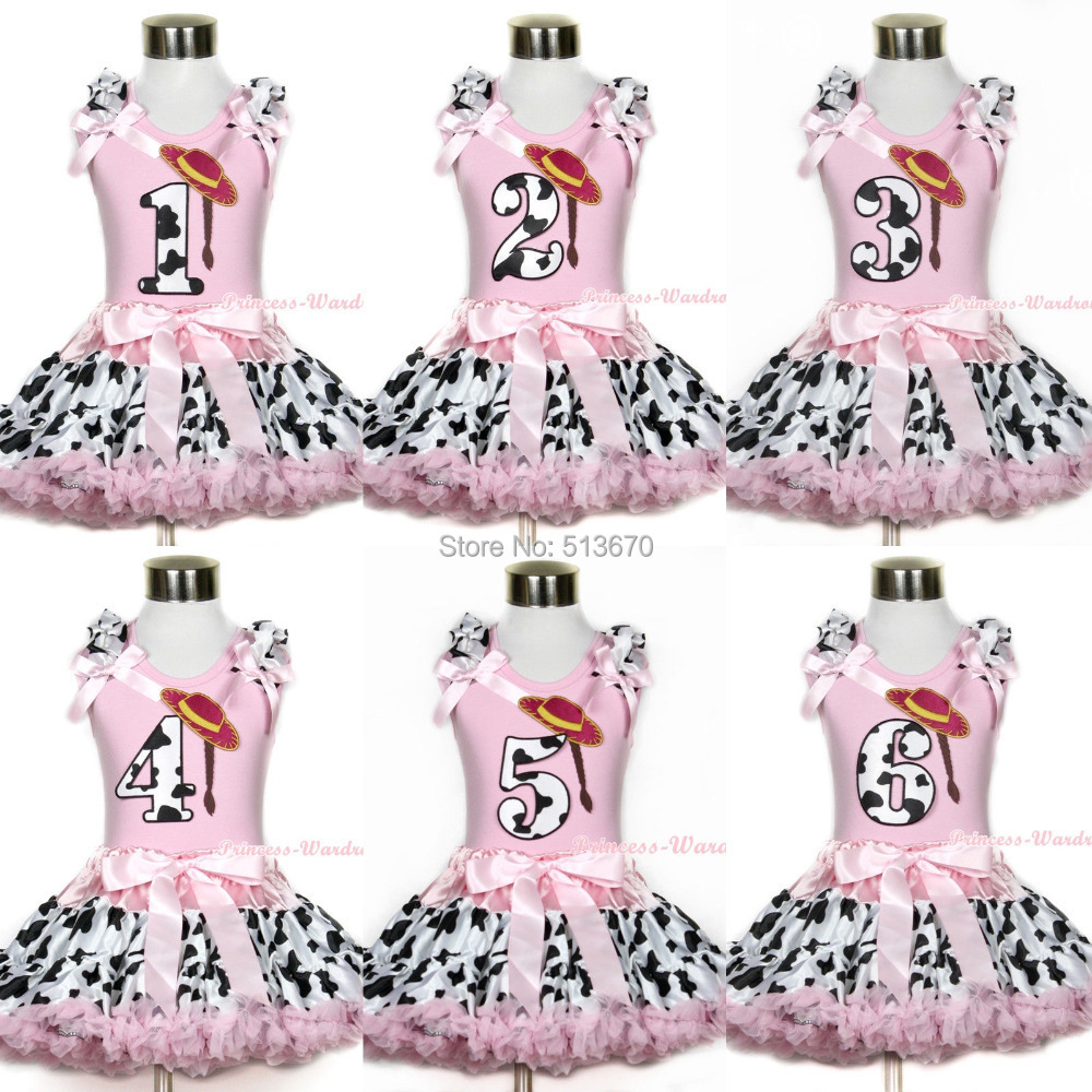 Light Pink Pettitop Cowgirl Braid Hat Birthday Age Pink Milk Cow Pettikirt 1-8Y MAPSA0413<br>