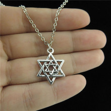 "GLOWCAT Q0A86 Men Jewelry Silver Two Star of David Jewish Pendant Chain Collar Necklace 18"" Religious Faith(China)"