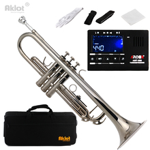 Aklot Bb Beginner Marching Band Trumpet Brass Body Silver Plated Mouthpiece with Tuner Nickel Purple Blue Black Red(China)