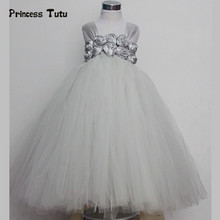 Handmade Tulle Flower Girl Tutu Dress Gray White Princess Dress Kids Party Wedding Dress Children Pageant Performance Ball Gown