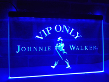 LA438- VIP Only Johnnie Walker Whiskey   LED Neon Light Sign     home decor  crafts