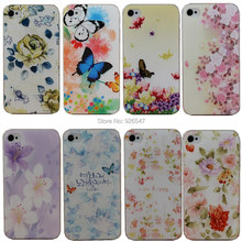 Beautiful Flower Design Painted Hard Black Cover Cases Fit For Apple iPhone 4 4s 4G Case For Phone Fashion Shell
