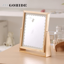 DUH A Desk Makeup Mirror Girls Cosmetic Rotating Stand Table Mirrors Ladies Natural Wood Dresser Mirrors Women R3100