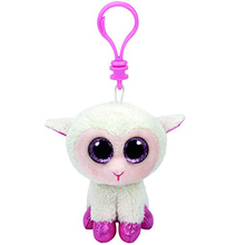 "Ty Beanie Boos Twinkle Lamb Clip 3"" Keychain Plush Stuffed Animal Collectible Doll Toy"