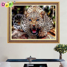 DPF diamond embroidery 5d Round Full  Roaring leopard Diamond Painting Cross Stitch Mosaic cube Crafts Home decor pictures