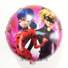 2pcs 18inch Foil material Miraculous Ladybug Balloons Kids Birthday Party Ladybug Girl Helium Decor Supplies Hero Mylar Globos