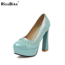 RizaBina women high heel shoes square gladiator rivets pumps lady brand heeled  footwear vintage heels shoes size32-43 P16088