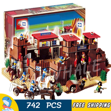 742pcs Western Wild West Fort Legoredo Sysiem Cowboys 33001 Model Building Blocks Children Toys Bricks Set Compatible With lego(China)