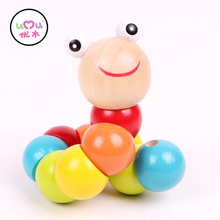 [Umu] Colorful Insects Puzzles Kids Educational Wooden Toys Baby Children Fingers Flexible Training Science Twisting Worm Toys