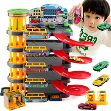 Big size 5 layer Track 4pcs Mini Alloy Car City Parking Topic DIY Educational Toy For boys Slot Car with Lift VS Thomas Car