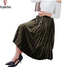 2017 Autumn Spring Big Swing Skirt With Elastic Adjustable Waist Pleated Skirt And Etallic Color A Shaped Style Long Skirt YY700