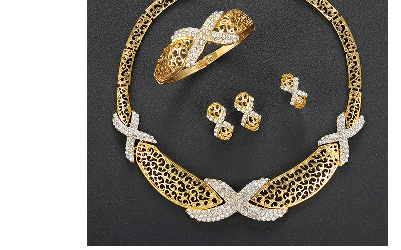 AYAYOO Dubai Jewelry Sets For Women Fashion African Beads Jewelry Set Nigerian Wedding Gold Color Necklace Set Gift (5)