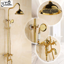 Shower Faucets 8 inch Gold Brass Rainfall Shower Faucet Set Dual Handle Tub Mixer Hand Shower wall mount Luxury Shower Faucets