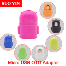 2017 Android Robot Shape Micro Mini USB OTG Adapter 2.0 Converter For Samsung Galaxy S5 S6 For Tablet PC Flase Mouse Keyboard