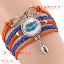 6Pcs/Lot NCAAF Florida Gators Glass Cabochons Bracelet College Football Team Bracelet New Infinity Bracelet Drop Shipping!