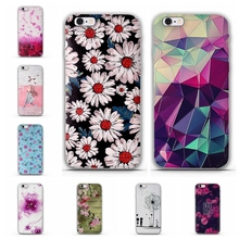 Soft TPU Phone Cases for Apple iPhone 6 Case Luxury 3D Relief Printing Flower Case Cover for iphone 6S 6 Back Silicon Covers Bag(China)