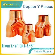 Excellent quality copper Y pieces installed in VRV air conditioner or multi-evaporator refrigeration system, mixed buy available(China)