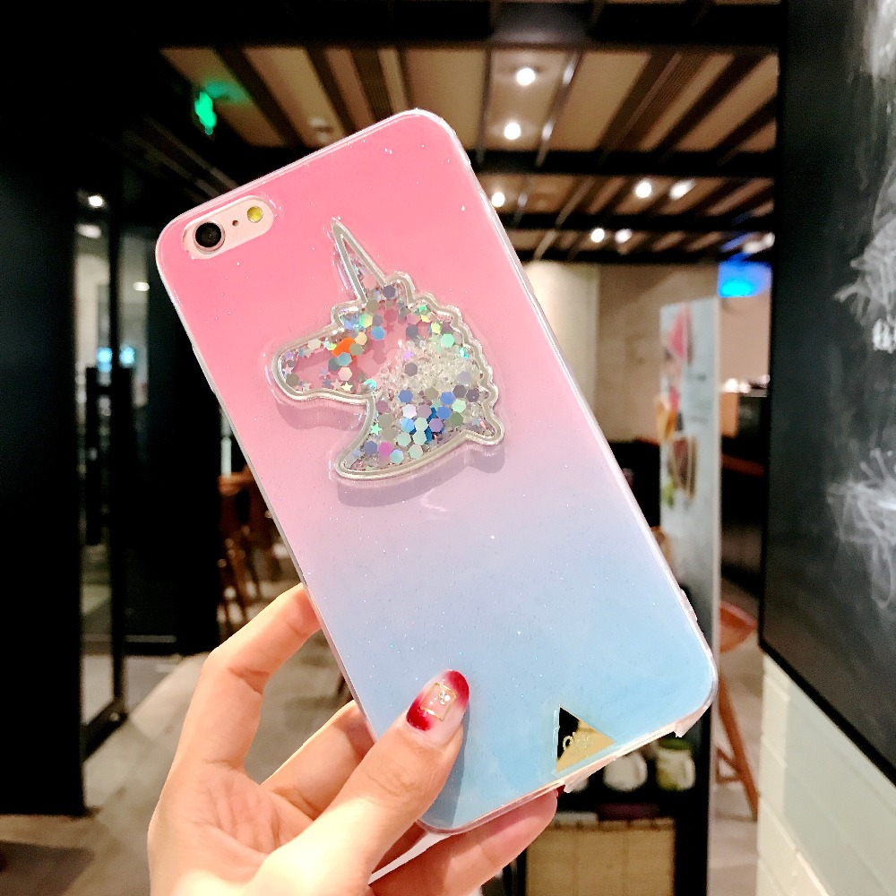XINKSD For iphone 6 s 6s Gradient Luxury diamond unicorn phone case On iphone 7 8 x xr xs max Ultra-thin soft tpu liquid funda (9)