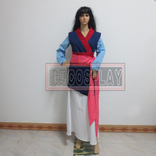 Hua mulan Cosplay Adult Princess Mulan Costume Blue Dress FilmMovie Party Halloween Outfit Custom(China)
