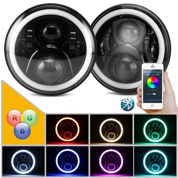 7 LED Headlights Bulb RGB Halo Angel Eye With Bluetooth Remote for 1997~2016 Jeep Wrangler JK LJ CJ Hummer H1 H2 Headlamp light<br>