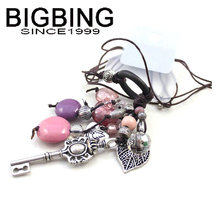 BIGBING fashion jewelry purple beads silver key pendant Necklace Golden chain Necklace high quality  free shipping J239