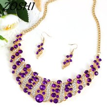 Fashion Crystal Wedding Jewelry Sets For Bride Party Costume Accessories Bridal Decorations Necklace Earring Jewellery for Women(China)